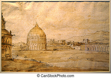 Vintage picture - Figure 16 century depicting the Baptistery...