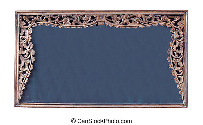 Vintage picture frame, Blackboard, wood plated, clipping path included.