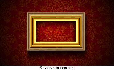 Vintage Picture Frame on Grunge Red Background