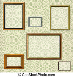 Vintage picture frame selection against a decorative background with clipping paths