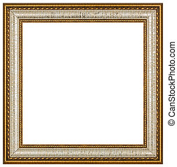 Vintage picture frame, white background, with clipping path