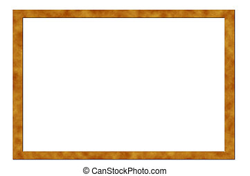 Vintage picture frame, wood plated, white background, clipping path included
