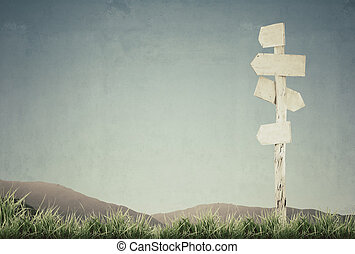 vintage picture of wooden signpost with grass and blue sky