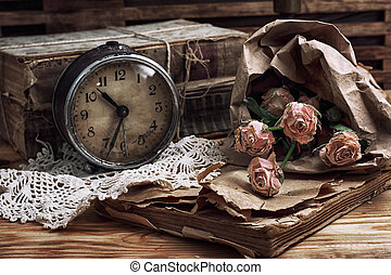 vintage - retro composition with bouquet of roses and...