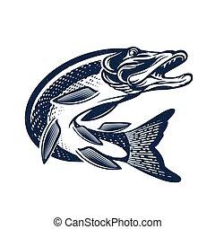 Vintage Pike Fish Logo. Vector Fishing Illustration.