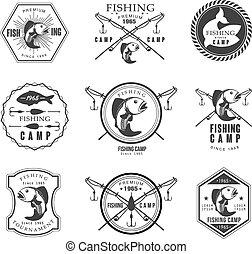 Vintage pike fishing emblems, labels and design elements...