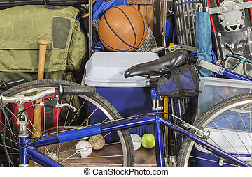 Vintage Pile of Worn Sports and Camping Equipment