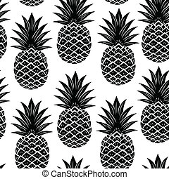 Vintage pineapple seamless - Black Vintage pineapple...