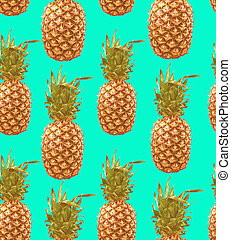 Vintage pineapple seamless pattern background