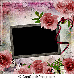 Vintage pink and green background with frame and  roses ( 1 of set)