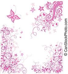 Vintage pink floral design