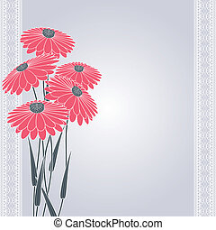 pink flowers on gray - vintage pink flowers on gray...