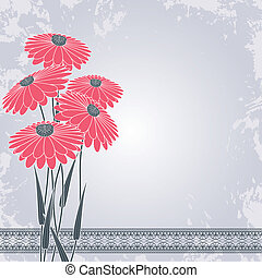 pink flowers on gray - vintage pink flowers on gray grunge...