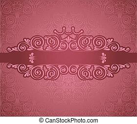 Vintage pink frame on background