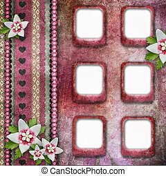 Vintage pink photo frames with flowers
