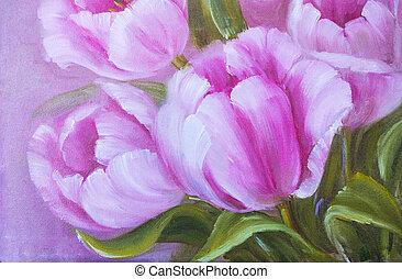 Vintage pink tulips. Oil painting.