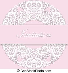 Vintage pink wedding invitation cover with lace decoration