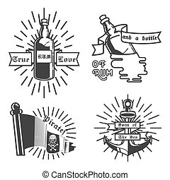Vintage pirate emblems