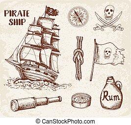 Vintage pirate ship