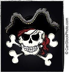 Vintage pirate skull