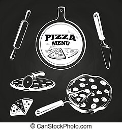 Vintage pizza elements on chalkboard
