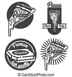 Vintage pizza emblems