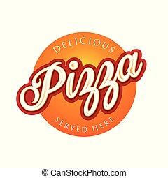 Vintage Pizza sign lettering stamp