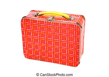 a vintage red plaid metal lunch box