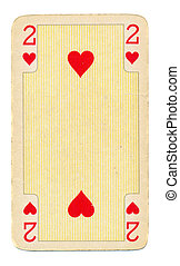 vintage playing card paper with hearts