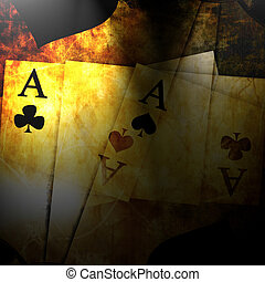 vintage playing cards on a dark background