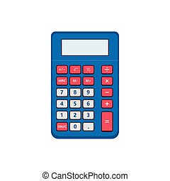 Vintage pocket calculator. Small portable calculation device, application user interface, classic basic arithmetic operations.Vector illustration.