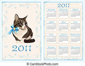 vintage pocket calendar 2011 with cat