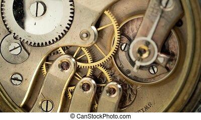 Vintage pocket old clock mechanism working. Close up. Time...