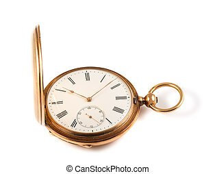 Vintage pocket watch - Golden pocket watch isolated on white...