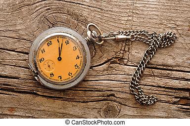 vintage pocket watch on wood board