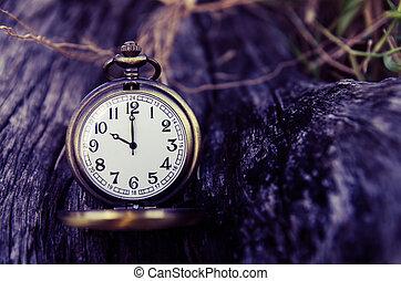 vintage pocket watch on wood log