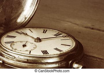 Vintage Pocket Watch - Vintage pocket watch over old timber....