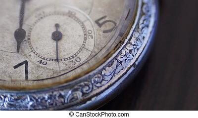 macro closeup of an vintage clock