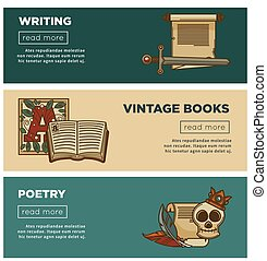 Vintage poetry books banners for bookshop or bookstore...