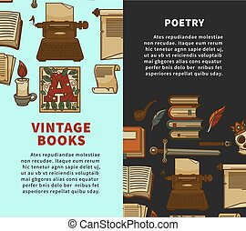 Vintage poetry books posters for bookshop or bookstore...