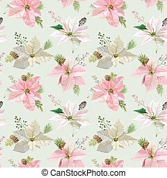 Vintage Poinsettia Background - Seamless Christmas Pattern - vector
