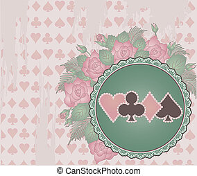 Vintage Poker background flowers