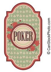 Vintage poker card, vector