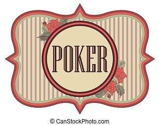 Vintage poker casino banner, vector
