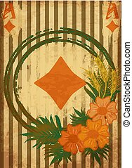 Vintage poker diamonds card with flowers and wheat ears, vector illustration