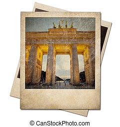 Vintage polaroid Berlin photo frame isolated