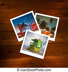 Vintage polaroids of travel memories on a wooden background....