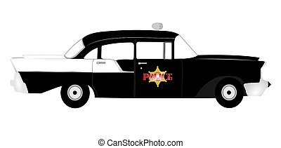 vintage police car  - police car from fifties era