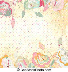 Vintage polka dot and rose frame template.EPS 8