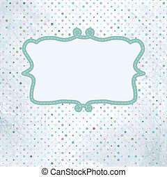Vintage polka dot card with lace. EPS 8